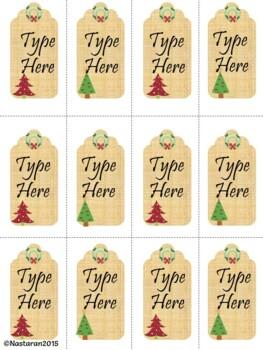Editable Christmas Gift Tags  (Small Size)