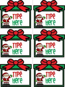 Editable Christmas Labels With Santa