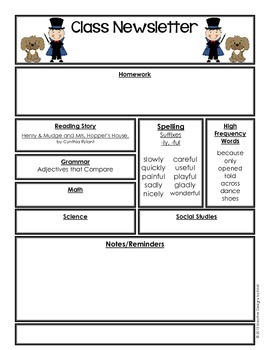 Editable Class Newsletter - Henry and Mudge