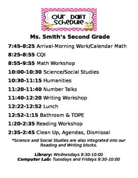 Editable Class Schedule