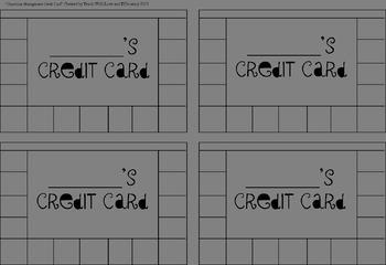 Editable-Classroom Credit Card- Behavior Incentive