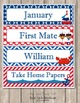 Editable Classroom Decor Package Red White and Blue Nautical