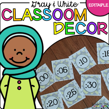Classroom Decor - {Editable Yellow and Gray Chevron}