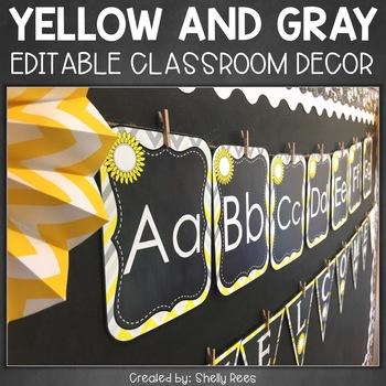 Editable Classroom Decor - Sunshine and Daisies on Chalkboard
