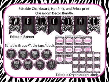 Classroom Decor (Editable Chalkboard, Hot Pink, and Zebra Print)