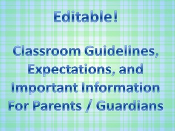 Editable!! Classroom Information Sheet!