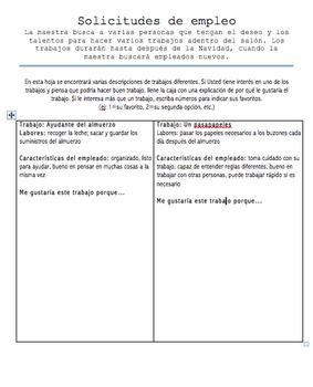 Editable Classroom Job Application and Job Board Signs in Spanish