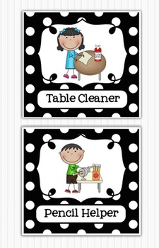 Editable Classroom Jobs Helpers - Black and White Polka Do