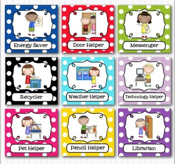 Editable Classroom Jobs Helpers - Kids Bright Multicolored