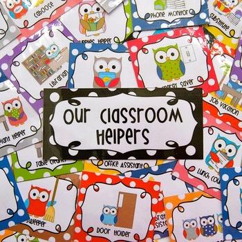 Editable Classroom Jobs Helpers - Owls Bright Multicolored