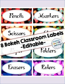 Editable Classroom Labels -- Colorful Bokeh Pattern!