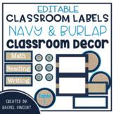 Classroom Labels {Navy, Burlap, Turquoise Decor}