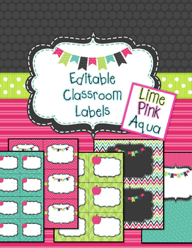 Editable Classroom Labels and Binder Covers Lime Pink Aqua