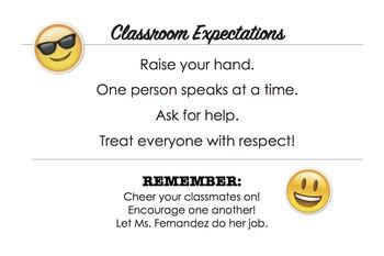 Emoji Editable Classroom Management Poster