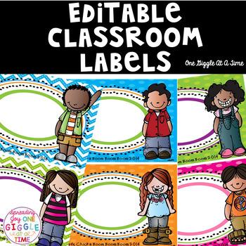 Editable Classroom Organizational Tags (Polka Dot/Chevron