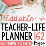 Teacher/Life Planner for UPPER Grades: Neon Geometric Theme