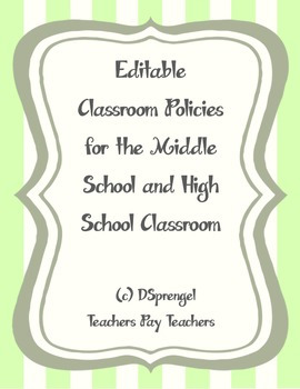 Editable Classroom Policies and Consequences for Middle Sc