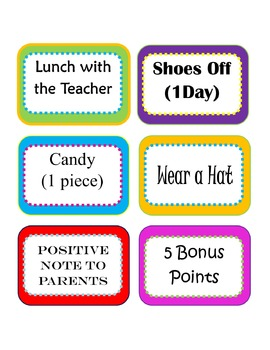 Editable Classroom Rewards Menu