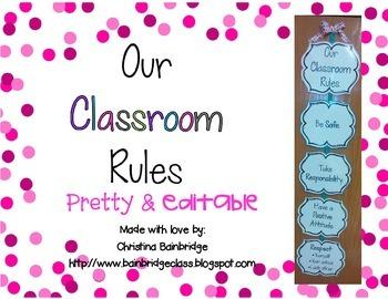 Editable Classroom Rules Display - pink, green, blue, gray
