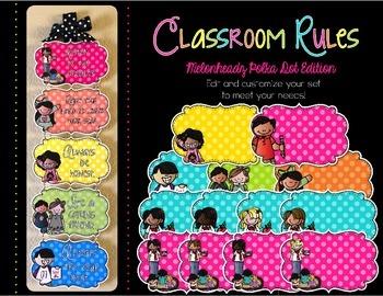 Editable Classroom Rules {Melonheadz Polka Dot Edition}