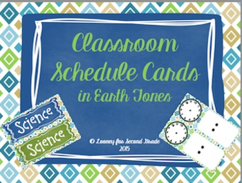 Editable Classroom Schedule Cards in Earth Tones