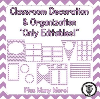 Editable Classroom Theme / Decor / Organization Bundle - L