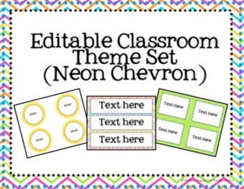 Editable Classroom Theme Set- Neon Chevron Print