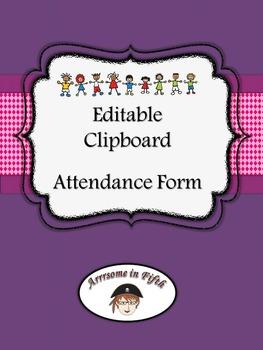 Back to School Editable Clip Board Attendance Form