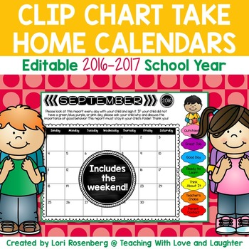 Editable Behavior Calendars for Clip Chart {Weekends Included}