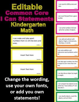 Editable Common Core I Can Statements Math Kindergarten