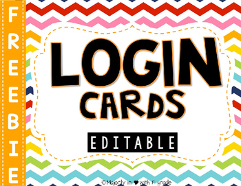 Editable Computer Login Cards {FREEBIE}