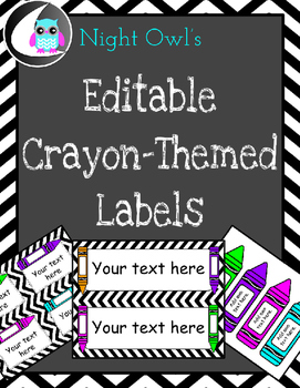 Editable Crayon-Themed Labels