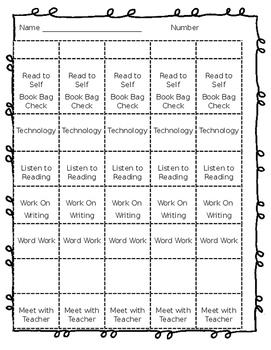 Editable Daily 5 Student Choice Menu