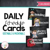 Editable Daily Schedule Cards {Chalkboard}