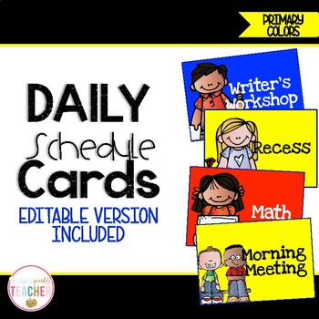Editable Daily Schedule Cards {Primary Colors}