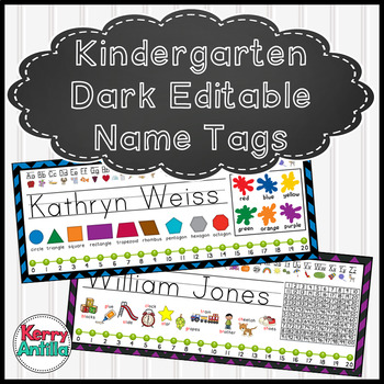 Editable Dark Chevron Kindergarten Desk Name Tags