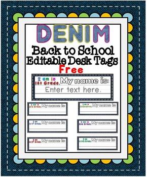 Editable Denim Desk Tags {Free}