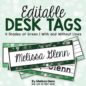 Editable Desk Tags Gorgeous Green