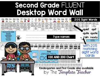 Editable Desktop Word Wall & Math Helper Name Tag- Second