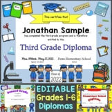 Editable Diplomas for Grade 1-6 & Elementary School, Gradu