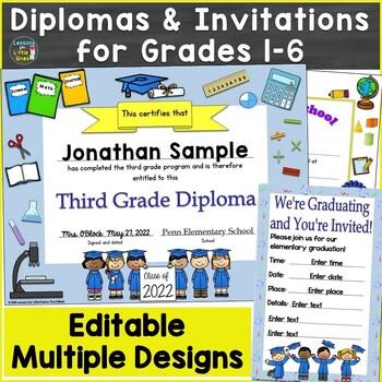 Editable Diplomas for Grade 1-6 & Elementary School, Gradu