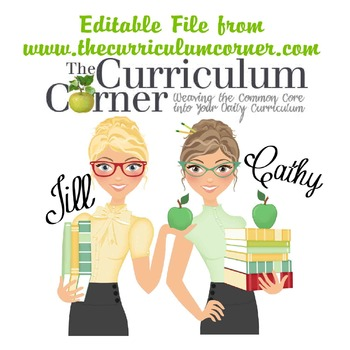 Editable Document from www.thecurriculumcorner.com