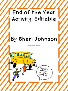 Editable End of Year Activity