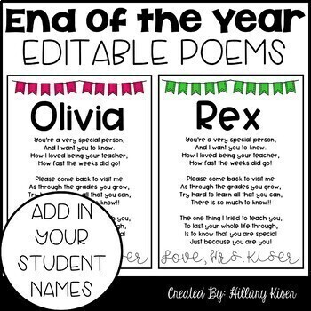 Editable End of the Year Poem