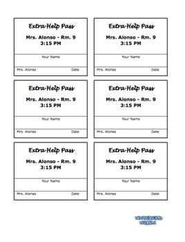 Editable Extra Help Pass