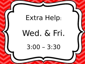 Editable Extra Help Signs
