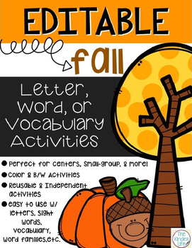 Editable Fall Autumn Letter, Word, and/or Vocabulary Inter