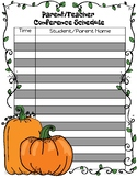 Fall Parent/Teacher Conference Schedule