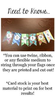 Editable Flag Banners for Classroom, Birthdays, & More!