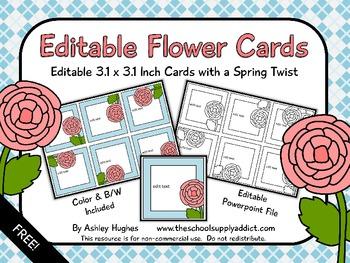 FREE Editable Flower Cards